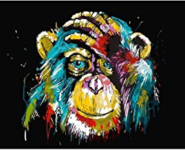 DIY Paint by Numbers for Adults Beginner Kids, Suprcrne Colored Orangutan Monkey 16x20 inch Linen Canvas Acrylic Stress Le...