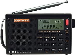 SIHUADON R-108ポータブルラジオFM LW 短波 MW エアバンド DSPレシーバー LCD バッテリーで良好屋内および屋外アクティビティの両親への贈り物 RADIWOWで作る