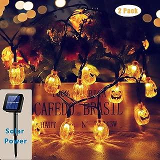 2 Pack Halloween Solar Lights Outdoor,20ft 30 LED Pumpkin Lantern Halloween Decorations for Ourdoor Garden,Yard, Patio, Xmas Tree, Party, Home(Warm White,IP65 Waterproof)