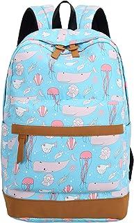 BLUBOON Canvas School Backpack Teen Girls Bookbag Women Travel Laptop Daypack (E0022-Light Blue)