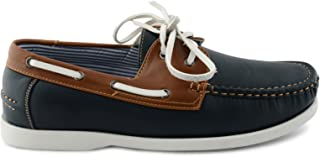 New Mens Faux Leather Lace-Up Deck Boat Casual Shoes UK Sizes 7-11