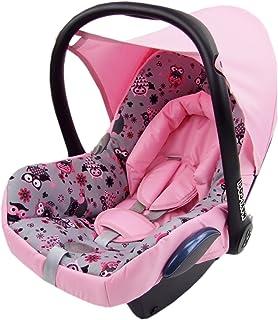 BAMBINIWELT Ersatzbezug für Maxi Cosi CabrioFix 6 tlg, Bezug für Babyschale, Komplett Set EULE $12 ROSA XX