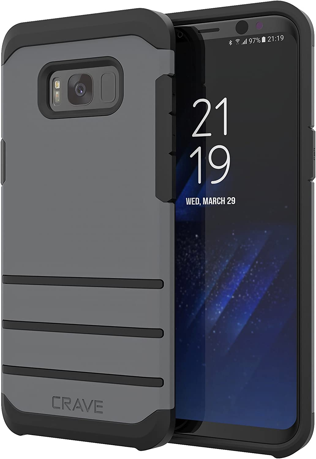 Crave S8 Plus Case, Strong Guard Protection Series Case for Samsung Galaxy S8 Plus- Slate
