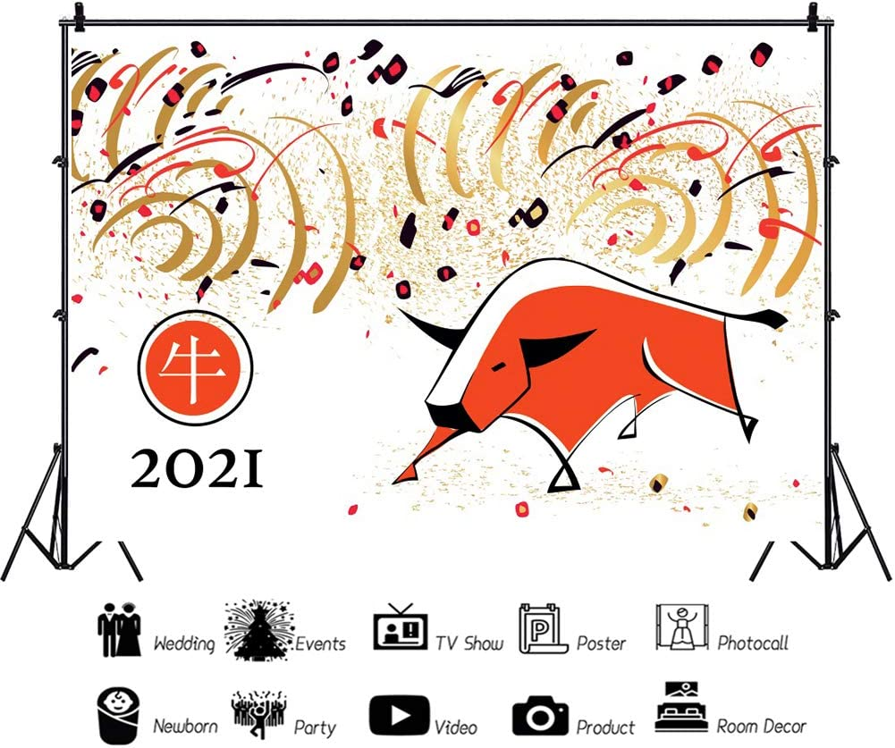 Leowefowa Happy Chinese New Year of The Ox 2021 Photography Background 5x3ft Vinyl Cattle Illustration Gold Streamers Confetti Backdrop New Year Party Banner Indoor Decors Wallpaper Photo Props