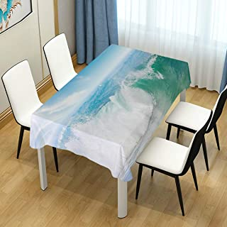 CHASOEA Decor Tablecloth Summer Vacation Theme Seascape with Wave and Clear Sky Travel Surf Rectangular Table Cover 54