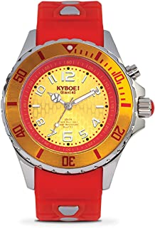 KYBOE! Power Stainless Steel Quartz Watch with Silicone Strap, red, 20 (Model: KY.40-014.15)