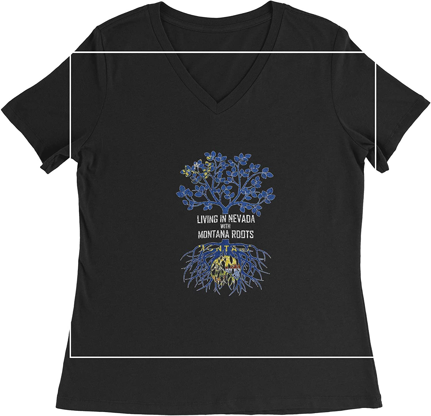 HARD EDGE DESIGN Women's Living in Nevada with Montana Roots T-Shirt