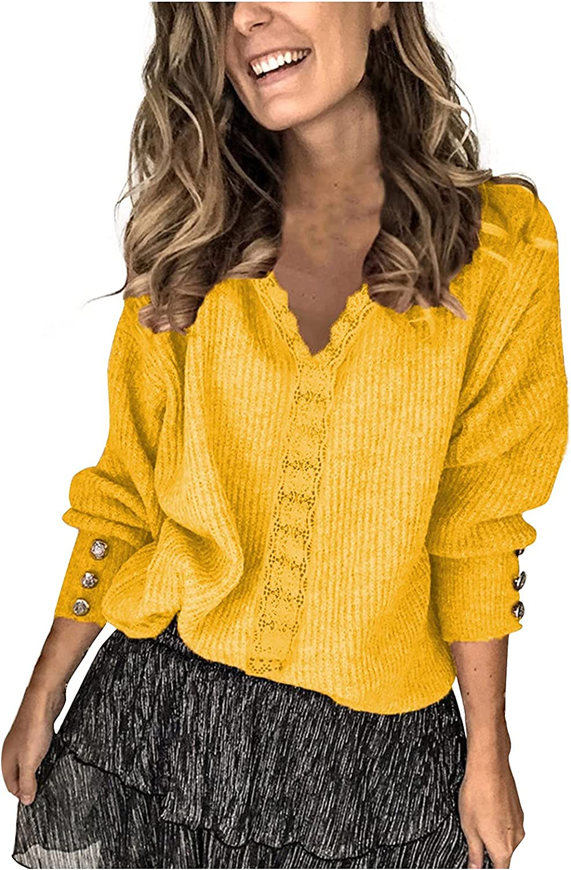JINLILE Sweater Pullover Tops Women Winter Long Sleeve V Neck Fleece Plus Size Casual Loose Fit Lightweight
