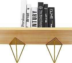 Gouden plankbeugels 15,7 x 13 cm Heavy Duty, industriële drijvende wandgemonteerde decoratieve beugels voor planken, verbo...