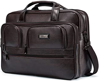 69a78b508d8b6 Briefcases for Men Leather 15.6 inch Laptop Bag Large Capacity Travel Business  Shoulder Bag Brown