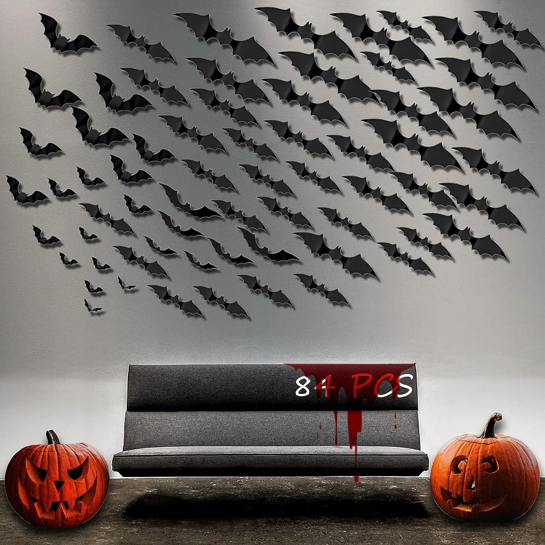 84 PCS Halloween 3D Bats Decoration shipfree Sizes 11 Realistic Scar PVC Sales for sale