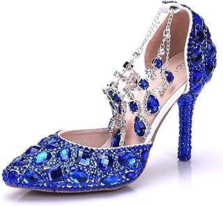 Minishion Womens Rhinestone Crystals Beading Ankle Chains Bridal Wedding Shoes