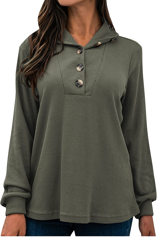 Akklian Womens Lapel Solid Pullover Long Sleeve Tops Casual Lightweight Sweatshirt Button Down V Neck T Shirt Tops Blouses