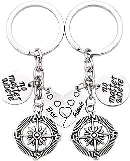 Best Friends No Matter Where Compass Keychain Set Heart, Best Friend Necklaces 2 Piece for Teens Half Broken Heart Keychain,Two Piece Double Keychains