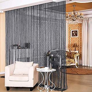 Beauenty Door String Curtain Wall Panel Window Room Divider Blind, Home Decorative Tassel Screen Ribbon Strings, black