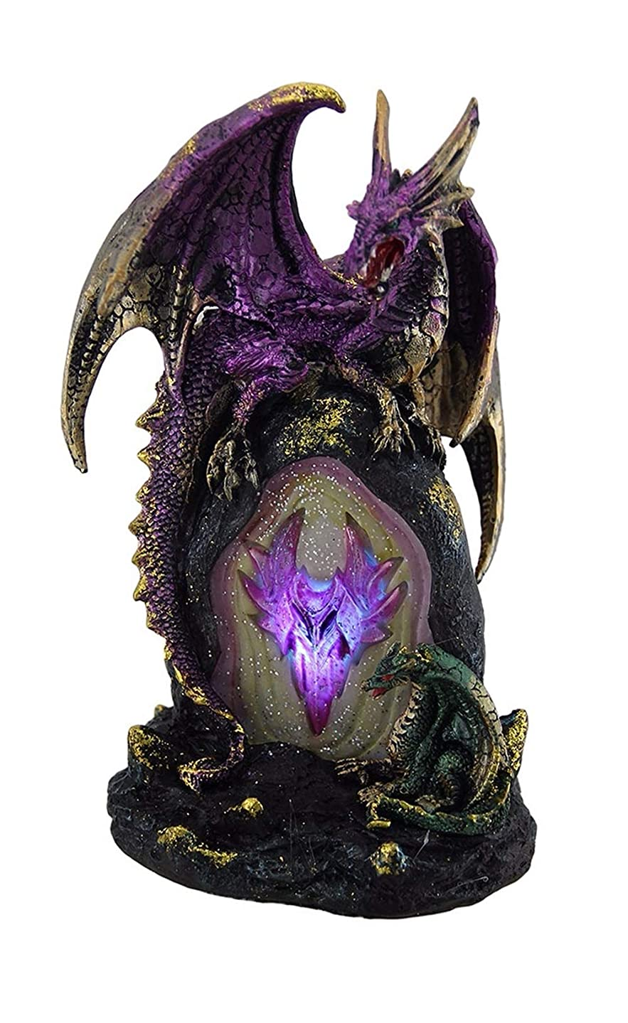 Carved Stone Look LED Dragon Geode Accent Lamp