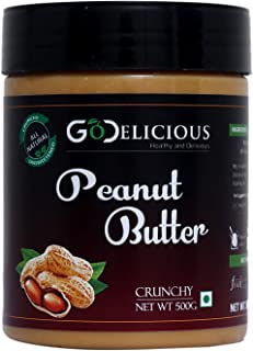 GoDelicious Peanut Butter Crunchy 500G | Unsweetened | Made with 100% Roasted Peanuts | No Added Sugar | No Added Salt | N...