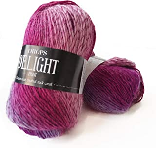 Superwash Sock Wool Blend Gradient Yarn Drops Delight, Superfine, Fingering Weight, 4 ply, 1.8 oz 191 Yards per Ball (06 Pink/Purple)