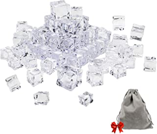 Whonline 50pcs Clear Fake Acrylic Ice Cubes Square Shape for Photography Props or Decorations, with 1 Large Velvet Storage Pouch (30pcs 1.12 Inches,20pcs 0.75 Inches)