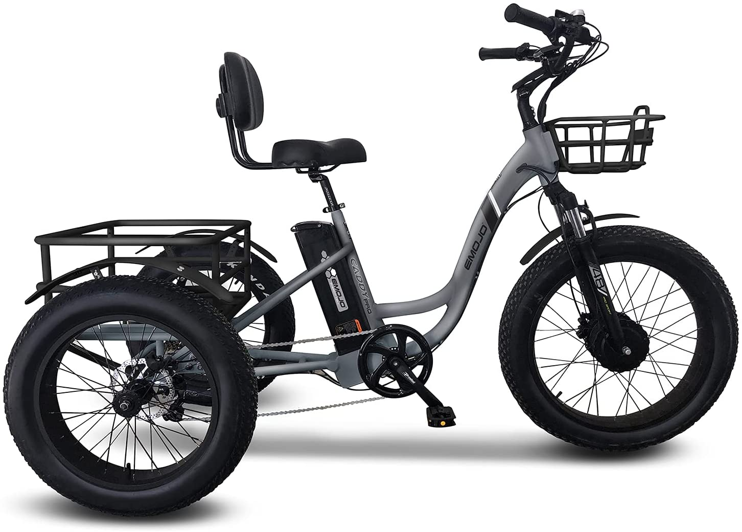 Emojo San Francisco Kansas City Mall Mall Electric Tricycle Fat Tire Caddy 48V Pro Hybri 500W Trike