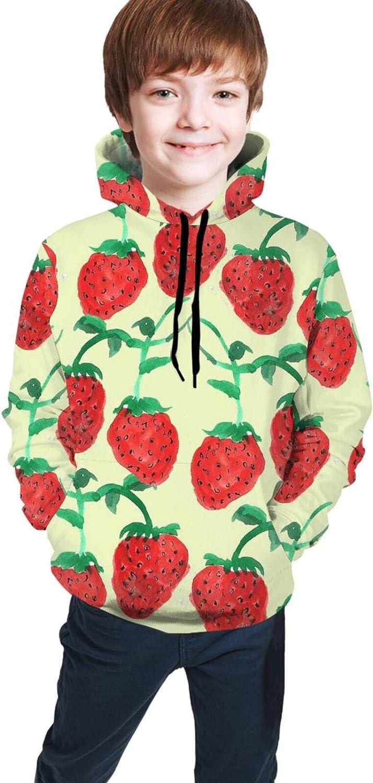 Boys Girls Hoodie, Strawberry Fruit Unisex 3D Printing Teenager Sweatshirt Kids Children's Sweater for Age 7-20