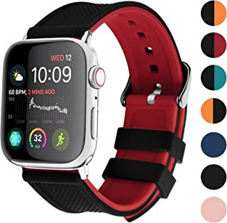Fullmosa Silicone Watch Band Compatible for Apple Watch 40mm 38mm 44mm 42mm, 6 Colors Soft Rubber Watch Strap for iWatch Series 5/4/3/2/1, Black Top/Red Bottom 44mm 42mm