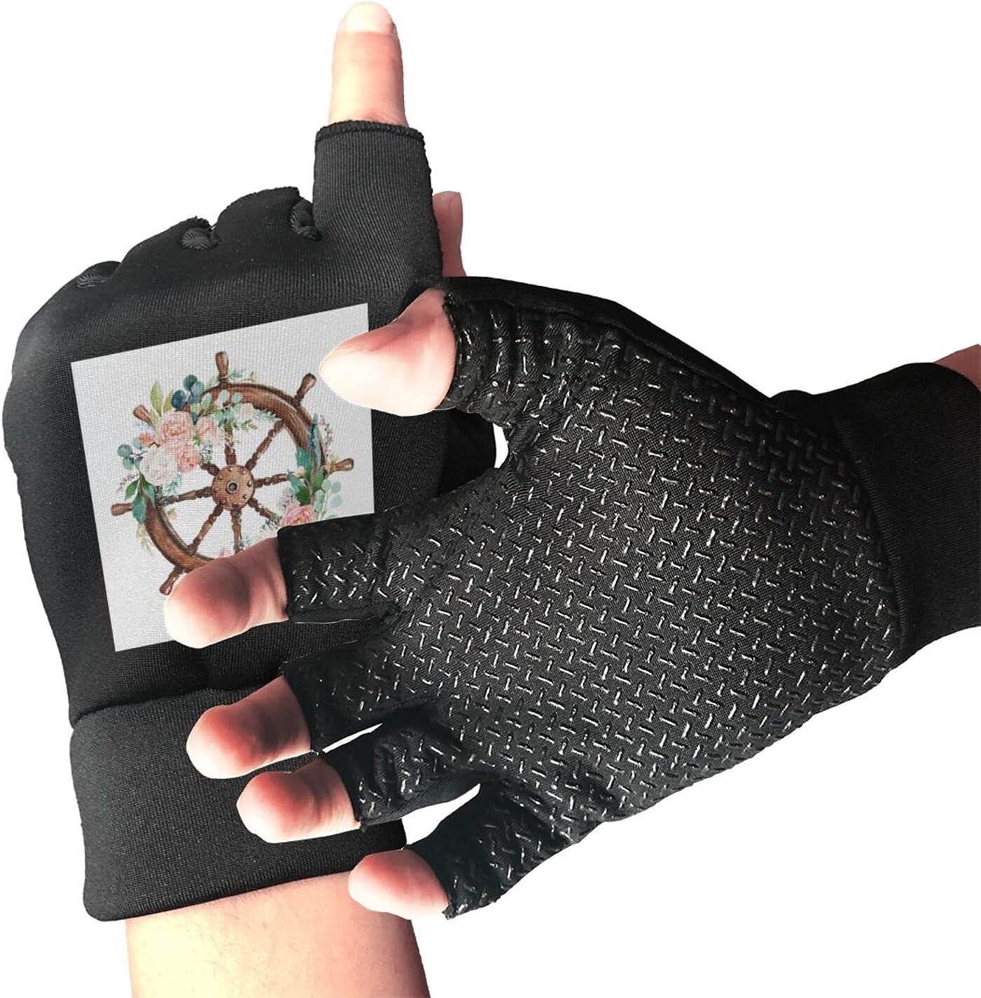 Steering Wheel Flower Unisex Half Finger Gloves Non-Slip Austin Mall 2021 spring and summer new Light