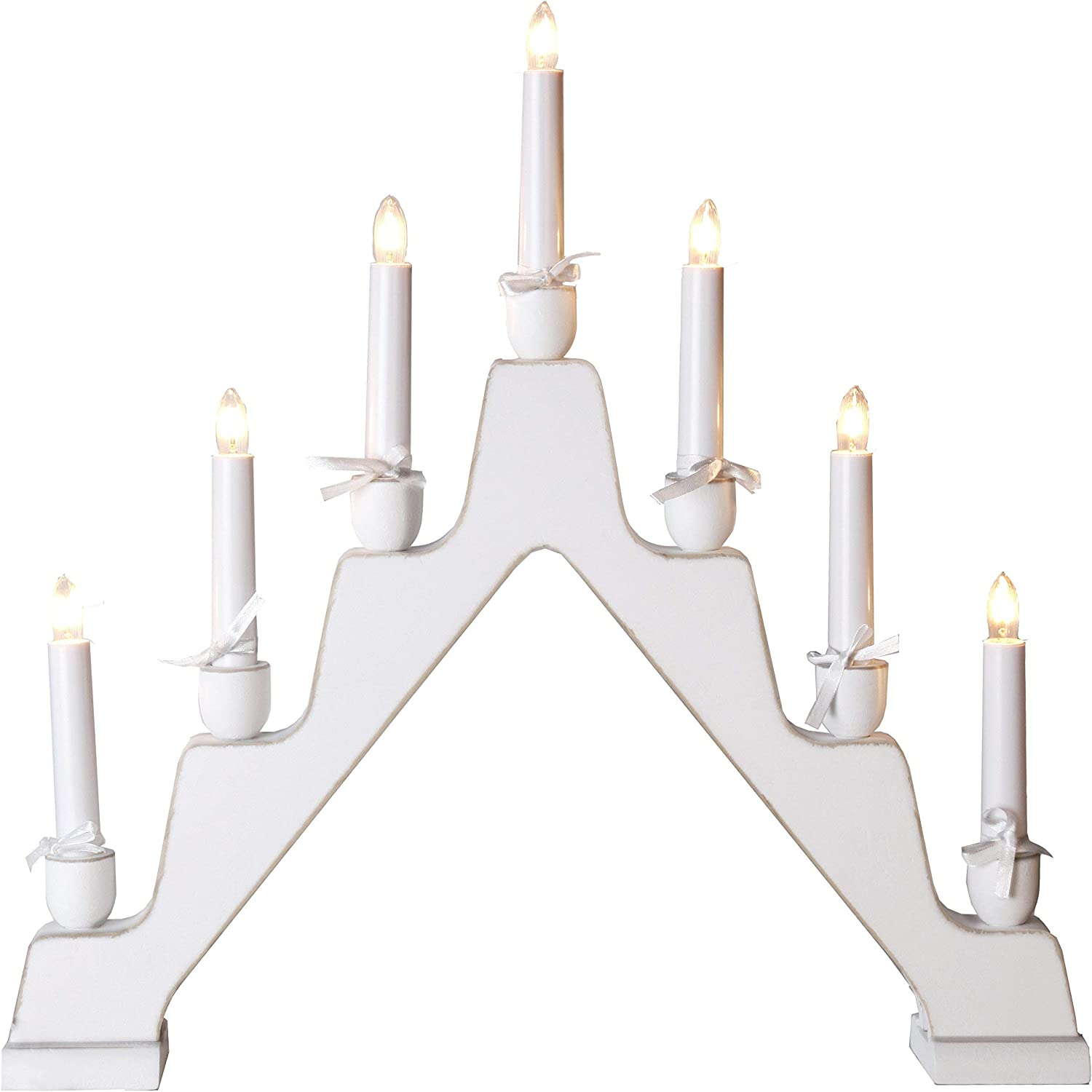 Star Wood 7-Light Maja Candlestick, White  Shabby