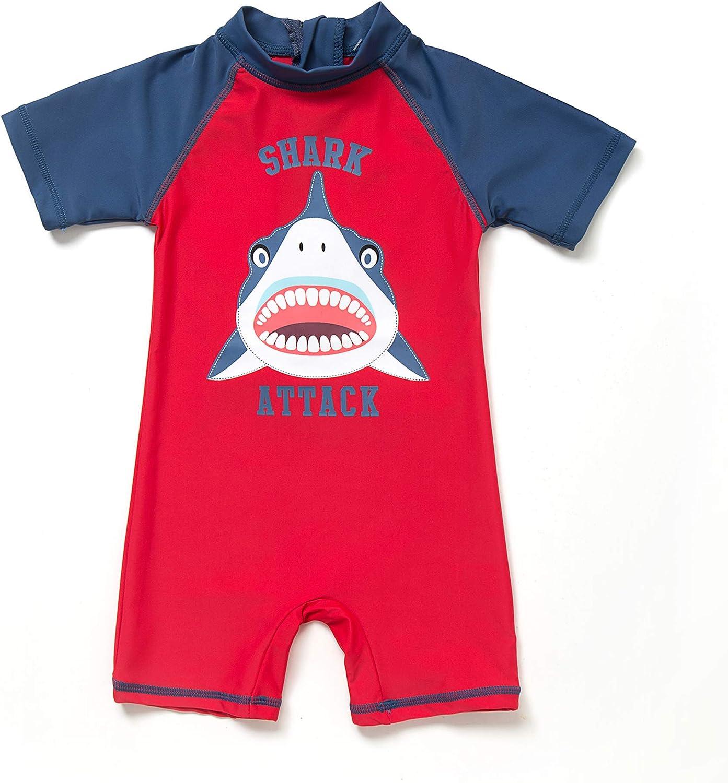 BONVERANO Baby Boy UV Swimsuit UPF 50 Sun Protection S//S One Piece Kids Sunsuit Zipper