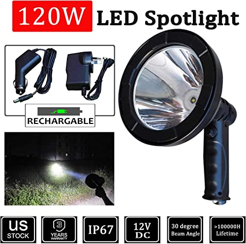 discount LED Spot Light online sale Searchlight 5 Inch new arrival Waterproof Rechargeable Super Bright Hunting Light Shooting for Camping Hiking Fishing Farming Outdoor outlet sale