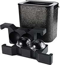 Ticent Whiskey Ice ball Molds - Crystal Clear Ice Ball Maker Large Sphere Ice Duo Trays for Whiskey, Cocktail, Brandy, Bourbon