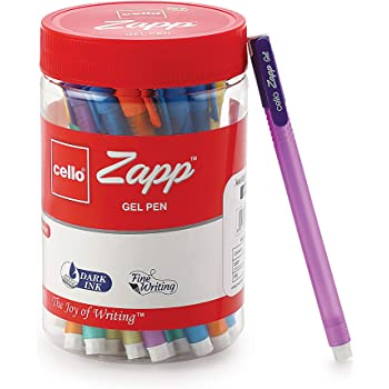 Cello Zapp Gel Pens (25 Pens Jar - Blue)   Dark gel ink for fine writing   Available in 5 bright body colors