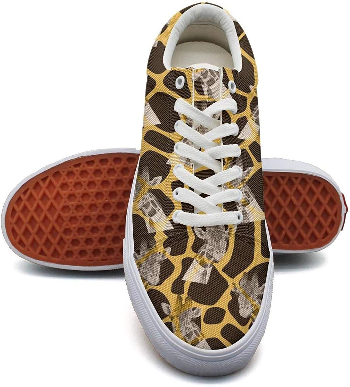 QILI Womens Dark Funny Giraffe Cool Slip on Walking Canvas shoes