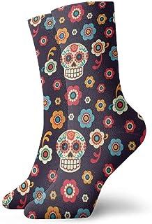 ASE, Patrón de calaveras de flores Calcetines cortos para adultos Calcetines de algodón para gimnasio para hombres Mujeres Yoga Senderismo Ciclismo Correr Fútbol Deportes