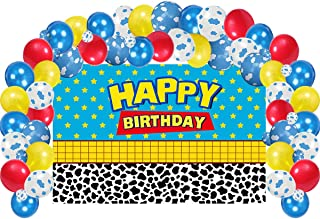 Happy Birthday Party Supplies Decorations,100 Pack Balloons Arch Garland, 4.5*2.8 FT Blue Sky Lattic Photograhy Backdrop ,...