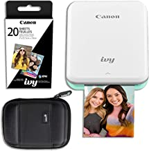 Canon Ivy Mini Wireless Photo Printer (Mint Green) with 20 Prints and Carrying Case