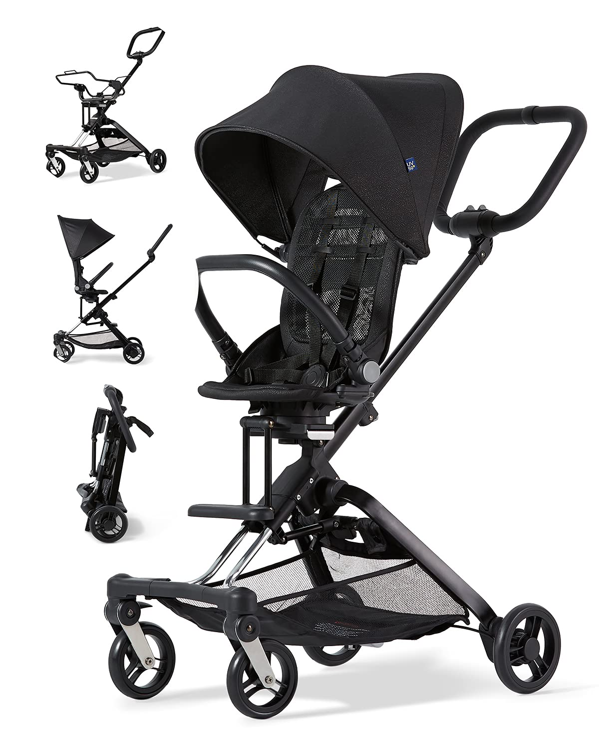 Unilove 2-in-1 On The Go Lightweight Stroller for Toddlers, Frame Stroller, and Infant Car Seat Carrier with Anti-UV Canopy, Reclinable and Rear/Front Reversible Seat, and Adjustable Handle