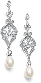 Mariell Vintage Cubic Zirconia Rhodium Scroll Bridal Earrings with Genuine Freshwater Pearl Drops