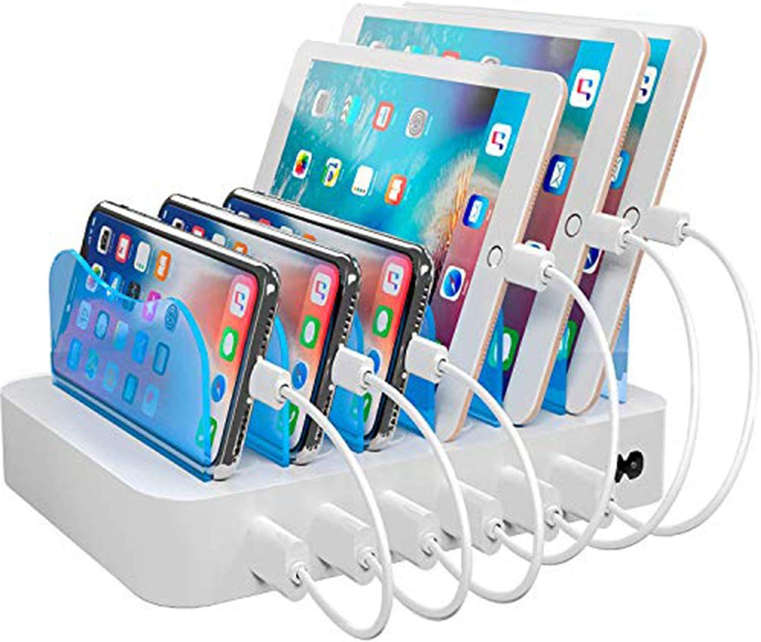 Hercules Tuff Charging Station for Multiple Devices, with 6 USB Fast Ports and 6 Short USB Cables, White