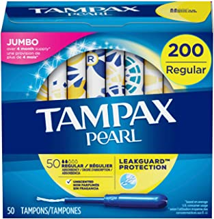 Tampax Pearl Tampons with Plastic Applicator, Regular Absorbency, 200 Count, Unscented (50 Count, Pack of 4 - 200 Count Total)