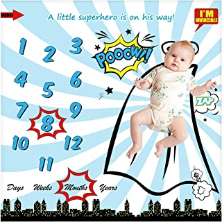Baby Monthly Milestone Blanket for Newborn Boy & Girl, Personalized Infant Swaddle Receiving Blankets Photography Backdrop Photo Prop - New Mom Baby Shower Gifts + Frame (Superhero Blanket, 40