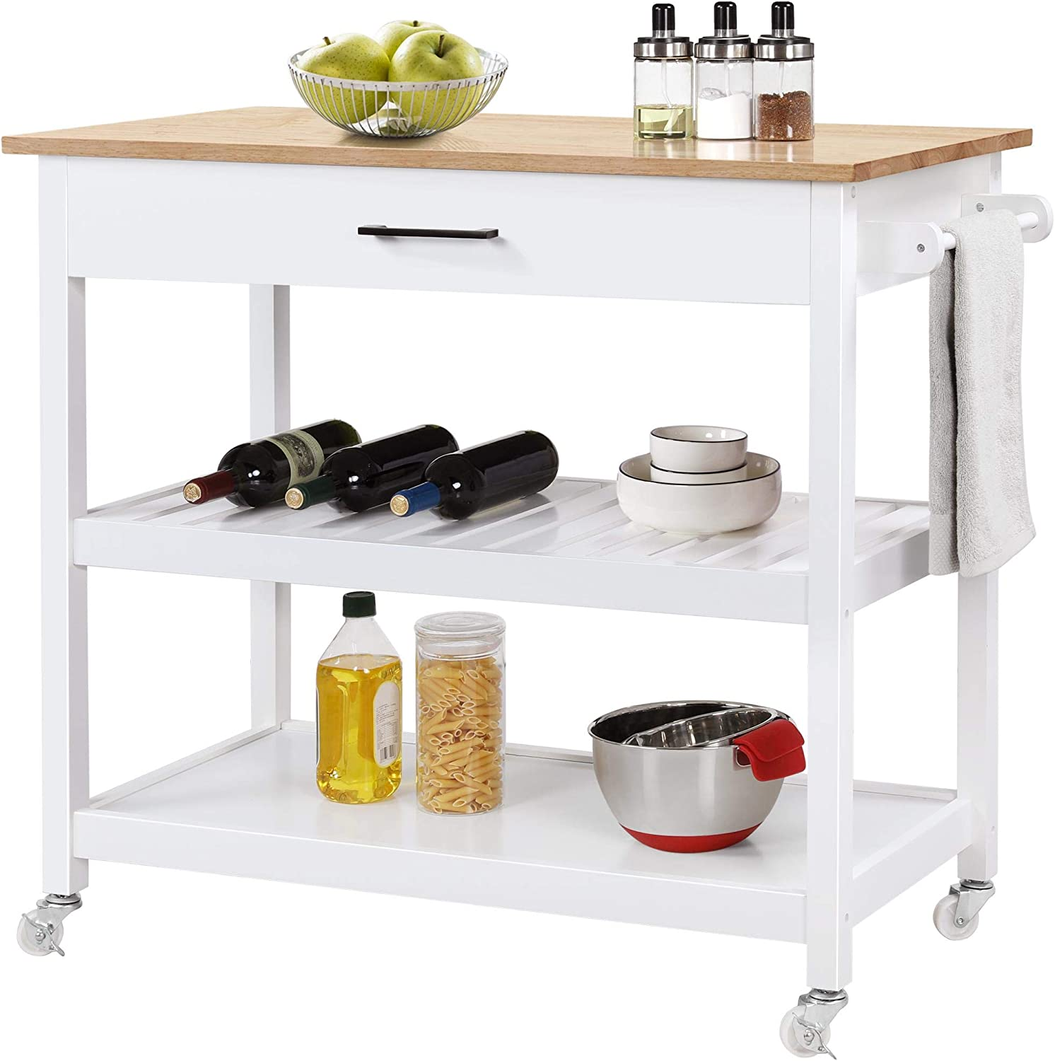 YAHEETECH Rolling Kitchen 数量は多 Island Cart with 豪華な Draw Serving Trolley