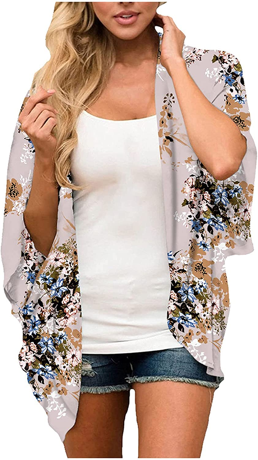 Womens Summer Fashion Middle Sleeve Tie Dye Gradient Chiffon Cardigan Floral Printed Beach Blouse Loose Fit Tops
