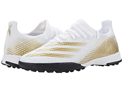 adidas Kids X Ghosted.3 TF J Soccer (Little Kid/Big Kid) (Footwear White/Metallic Gold Melange/Core Black) Kids Shoes
