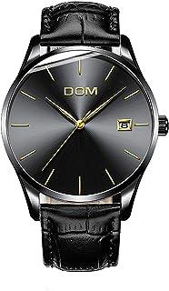 DOM 7MM ساعة رجالية رقيقة جدا الترفيه الأعمال الحد الأدنى الأزياء تناظرية التاريخ حزام الجلد ساعات الذكور