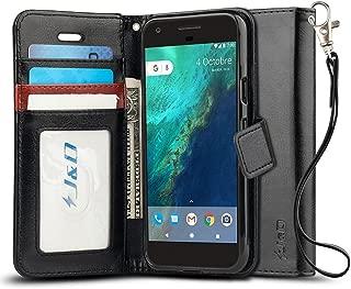 J&D Case Compatible for Google Pixel XL Case, [Wallet Stand] [Slim Fit] Heavy Duty Protective Shock Resistant Flip Cover Wallet Case for Google Pixel XL Wallet Case - Black