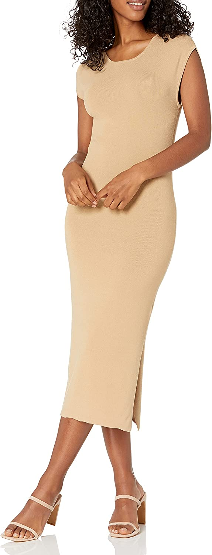 The Drop Women's Laila Power Shoulder Twist-Back Midi Sweater Dress