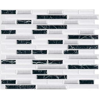 Decalmile 10 Pieces Stickers Carrelage 3d 27cm X 25 4cm Noir Marron Marbre Mosaique Carrelage Adhesif Mural Cuisine Salle De Bain Carreaux De Ciment Mural Decoration Stickers Carrelage Ameublement Et Decoration