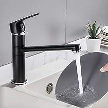 Auralum Gootsteenkranen Keukenkraan Zwart Keukenarmatuur Waterkraan Keuken 360 draaibare keukenkraan Gootsteenarmatuur