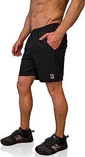"MudGear Freestyle Running Shorts for Men - 7"" Inseam, Zipper Pocket - Black and Gray"